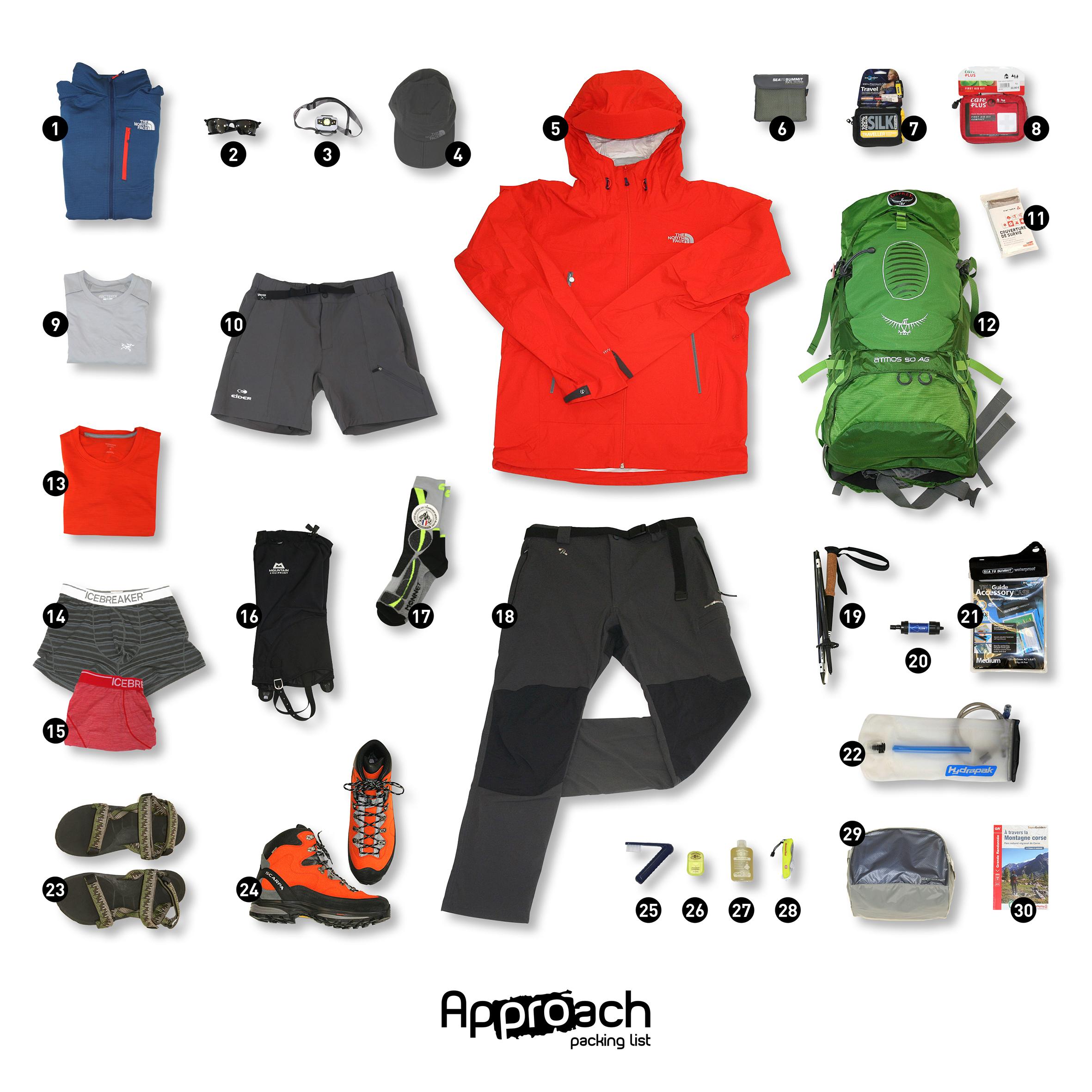 Rando packing list trekking gr20 en corse approach outdoor - Salon de la randonnee ...