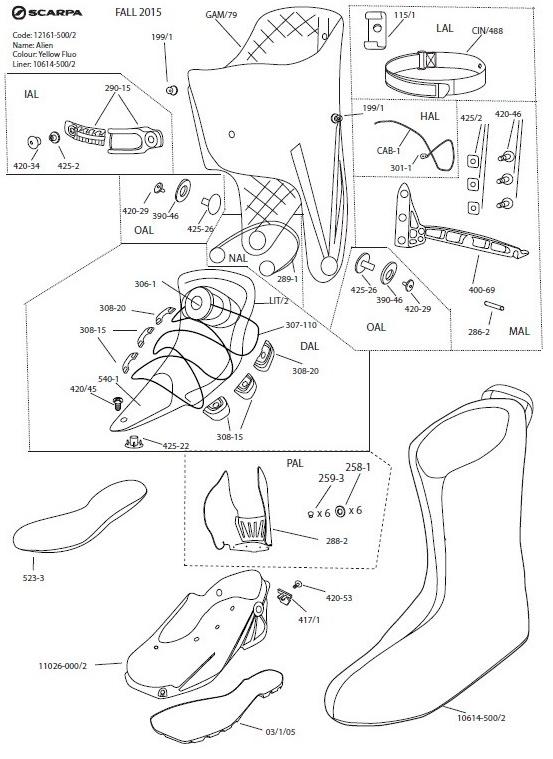 eclate de la chaussure alien de scarpa
