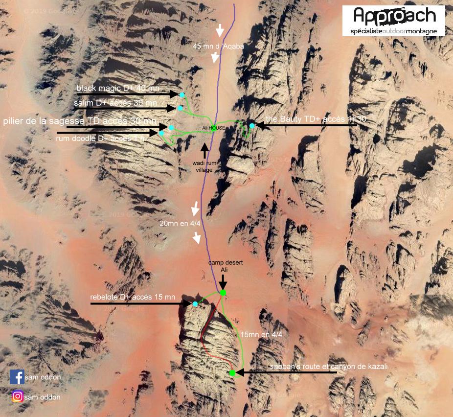Plan voies Wadi Rum